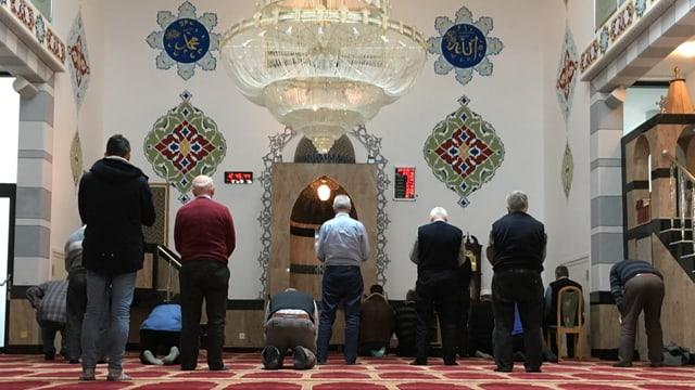 Il maletg mussa ils cartents muslims vida far oraziun en la moschea