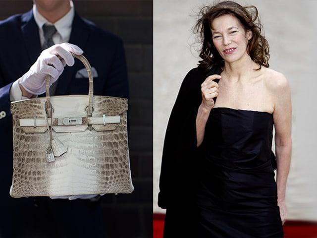 Ein Mann hällt eine Kroko Birkin Bag in den Händen. Jane Birkin in einem schwarzen Kleid auf dem roten Teppich
