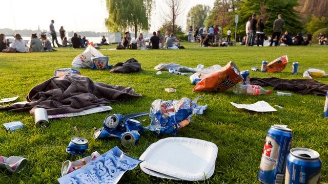 Littering-Situation am Zürichsee im Sommer.