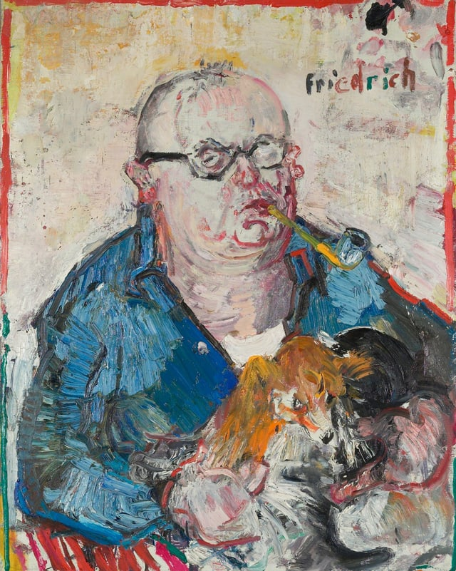 Gemälde von Friedrich Dürrenmatt. Der Schriftsteller wird mit aufgeplatztem Hemd und dickem Kopf dargestellt.