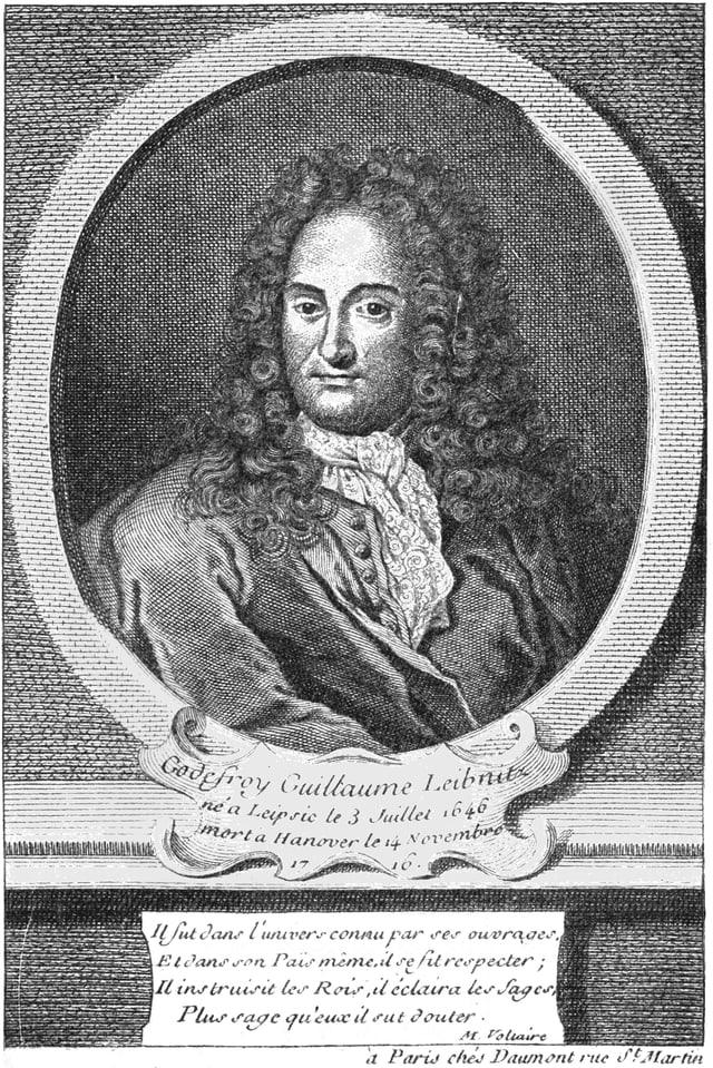 Leibniz auf einem zeitgenössischen Stich, der Urheber ist unbekannt.