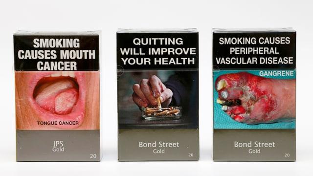 Schockbilder auf Zigarettenschachteln.