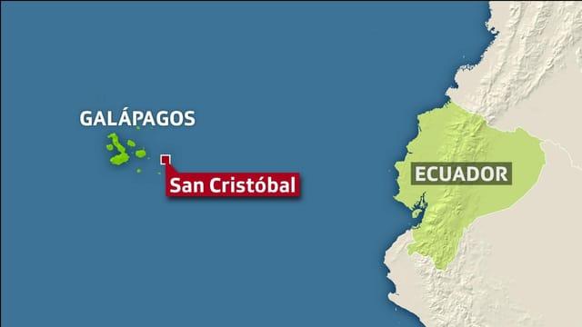 Legende   Die Galápagos-Inseln liegen rund 1000 Kilometer vor der südamerikanischen Küste.       SRF
