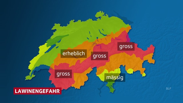 Schweizer Karte, Alpenhauptkamm rot eingefärbt.
