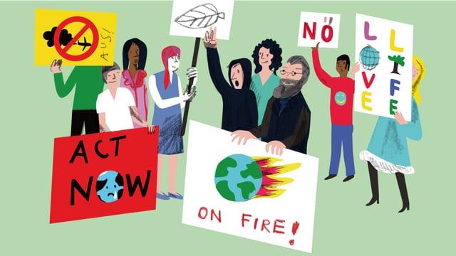 Illustration: Gottfried Keller demonstriert mit jungen Leuten gegen die Klimaerwärmung.