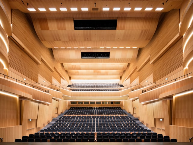 Innenansicht des Konzert- und Theatersaals des Kulturzentrums LAC (Lugano Arte e Cultura).