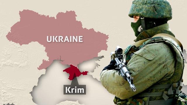 Karte der Ukraine mit der Halbinsel Krim und einem bewaffneten Soldaten.