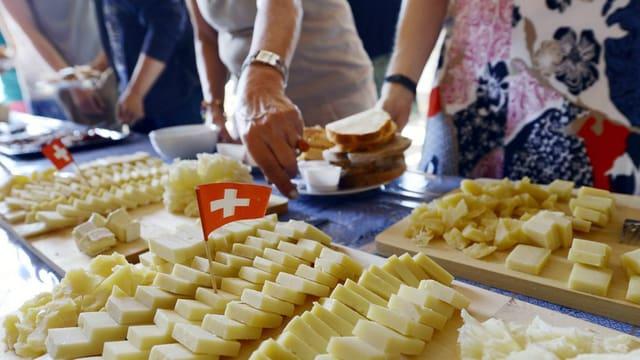 Käse auf dem Buffet eines 1. August-Brunches