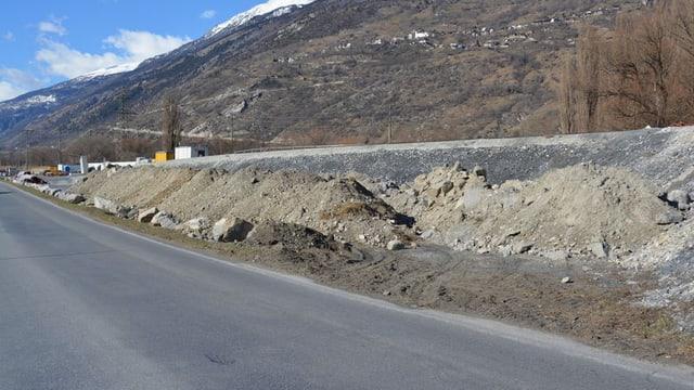 A9-Baustelle bei Visp.