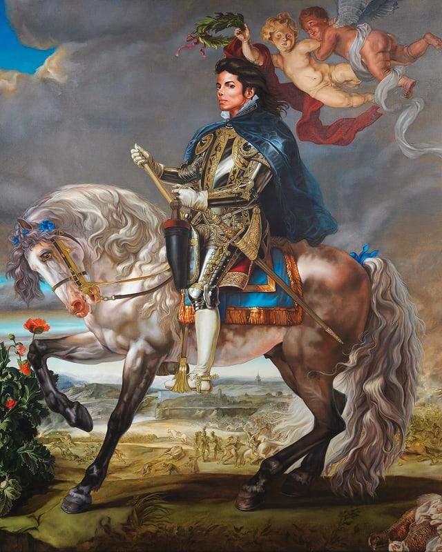 Michael Jackson auf einem Pferd. Viel Pomp.