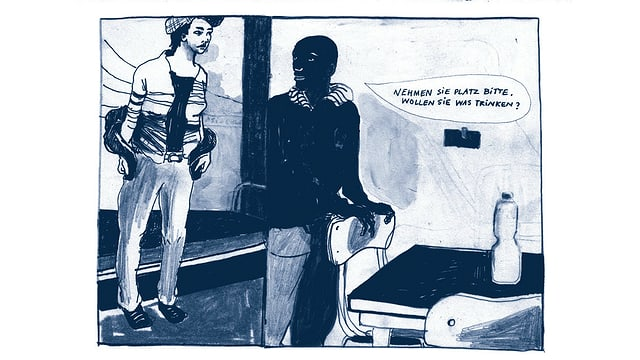 Auszug aus dem Comic: Die Ich-Erzählerin besucht einen schwarzen Asylsuchenden im Heim.