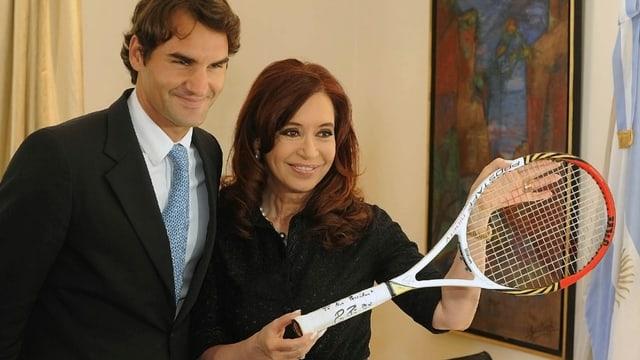 Die argentinische Präsidentin Cristina Fernandez de Kirchner und Roger Federer