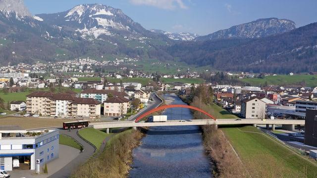 Visualisierung einer neuen Brücke in der Gemeinde Schwyz.