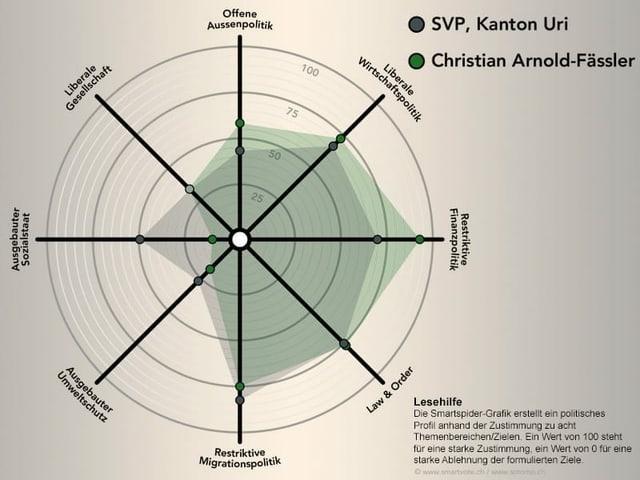 Das politische Profil von Christian Arnold schematisch dargestellt.