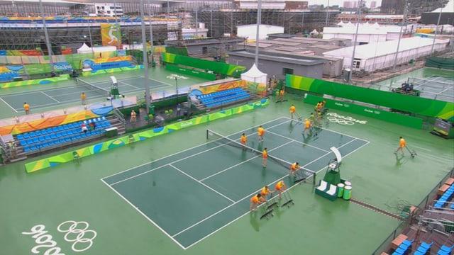 In Rio warten die Tennis-Cracks weiter auf Wetterbesserung.