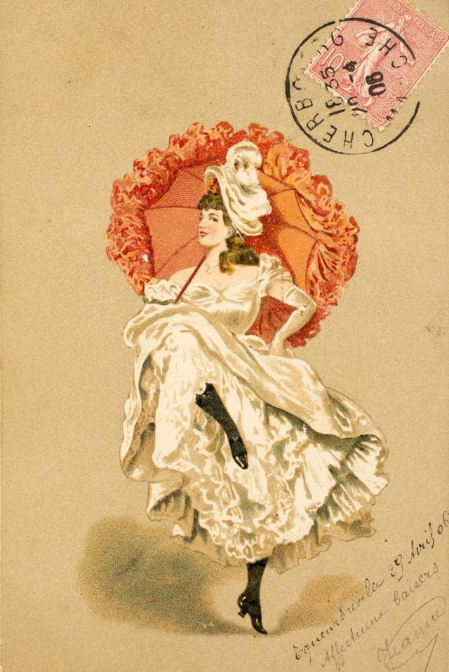 Eine Frau, die Cancan tanzt, auf einer Postkarte.