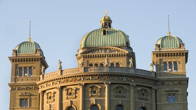 Das Parlamentsgebäude mit den kleineren südlichen Kuppeln ohne Schweizerfahnen.