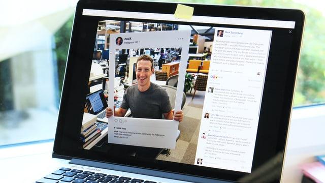Auf einem Laptop ist ein Foto von Mark Zuckerberg zu sehen.