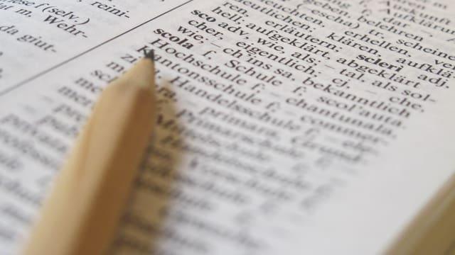 Bleistift zeigt auf Wörterbuch