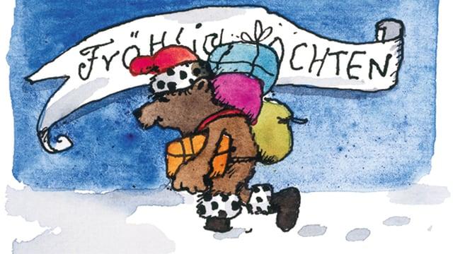 Auf dieser Zeichnung stampft ein Bär im Weihnachtsmannkostüm durch den Schnee.