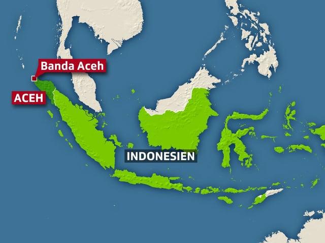 Karte Indonesien mit der Stadt Banda Aceh