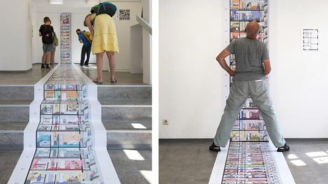 Besucher der Ausstellung beugen und strecken sich, um die auf dem Boden klebenden Zeichnungen des Hochhauses betrachten zu können.