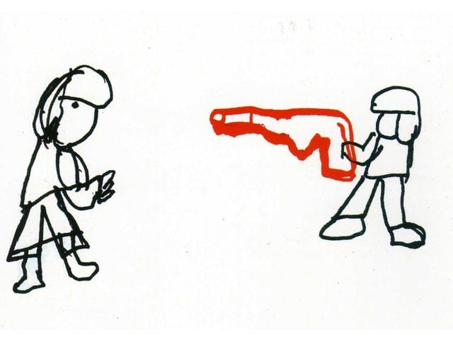 Eine gezeichnete Person schiesst mit einer roten Pistole auf eine zweite Person.