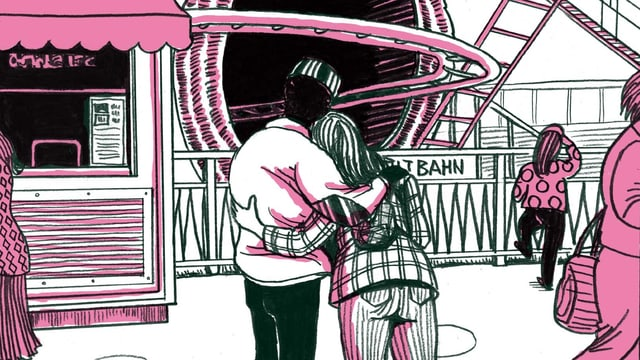 Eine schwarz-rosa-weisse Comic-Illustration: Ein Paar auf dem Rummelplatz.