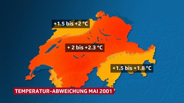 Schweizkarte, Verteilung der Temperaturabweichung (farbig- rot) im Mai 2001.