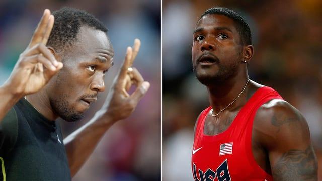 Usain Bolt und Justin Gatlin schauen einander an.
