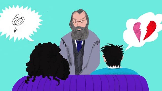Illustration: Ein Paar sitzt auf dem Therapeutensofa: Psychiater Gottfried Keller sitzt ihnen gegenüber.