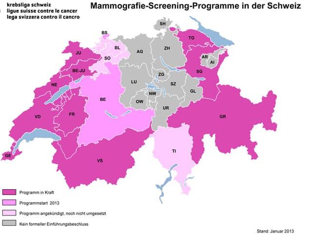 Schweiz-Karte mit dem Mammograpfie-Screening-Angebot in den einzelnen Kantonen.