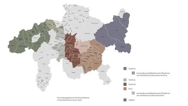 Karte der Schweiz mit Verbreitungsgebieten der Idiome.