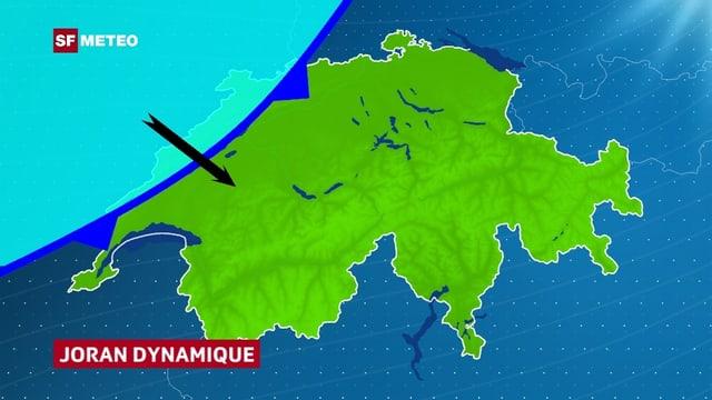 Eine Schweizerkarte. Die kalte Luft hat den Jura überschritten. Im Mittelland zeigt ein Windpfeil Nordwestwind an.