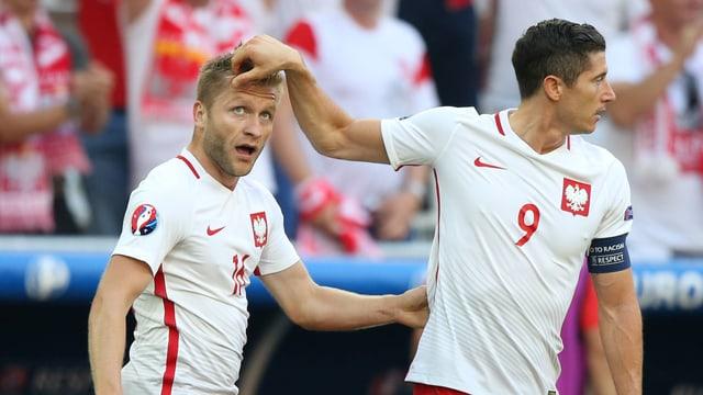 Jakub Blaszczykowski und Robert Lewandowski an der Fussball-Europameisterschaft 2016 in Frankreich.
