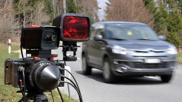 Ein Radargerät steht neben einem fahrenden Auto