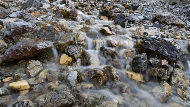 Wasser fliesst in einem Flussbett über die Steine.
