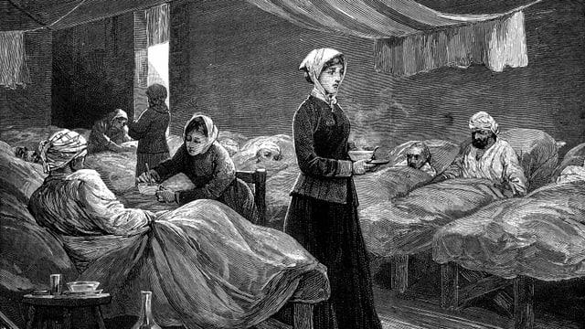 ein Gemälde einer Frau, die zwischen Kranken steht und verzweifelt schaut