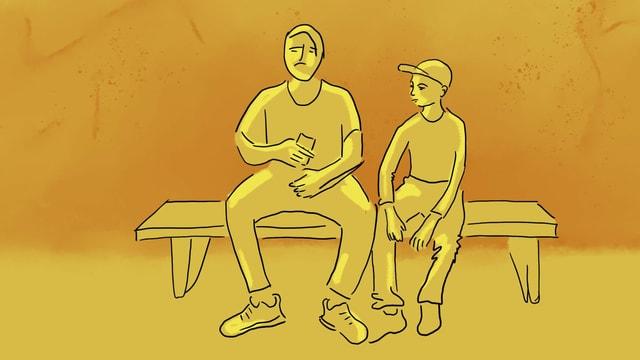 eine gelbe Illustration, die zwei Teenager zeigt, die sich auf dem Handy etwas zeigen