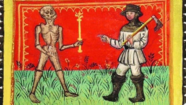 Der Tod trifft einen Handwerker - Bild aus einer Handschrift aus dem 15. Jahrhundert.