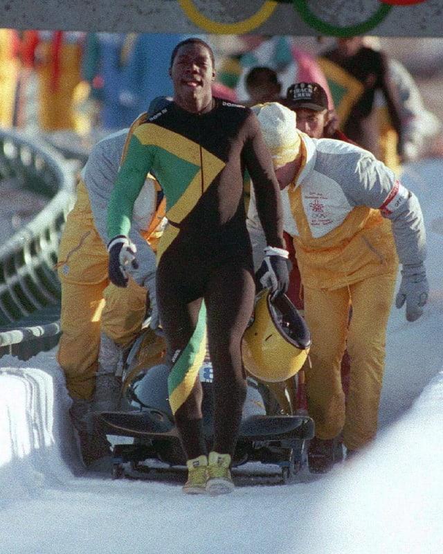 Die Jamaikanische Bobmannschaft 1988 in Calgary