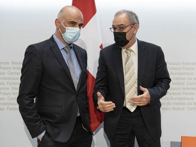 Die Bundesräte Alain Berset und Guy Parmelin.