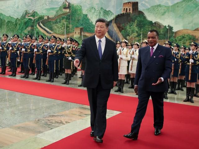 Xi Jingping und der kongolesische Präsident Denis Sassou.