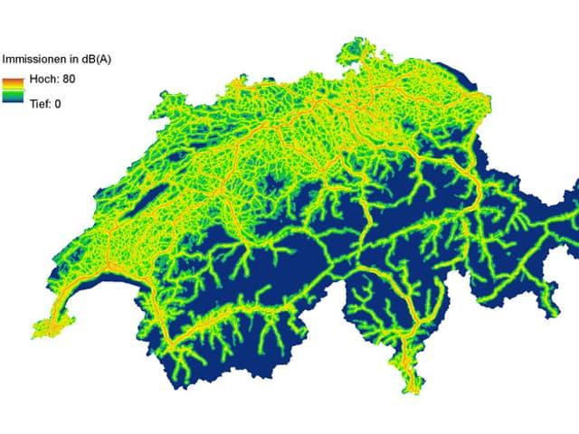 Schweizer Karte mit Strassenlärm eingezeichnet