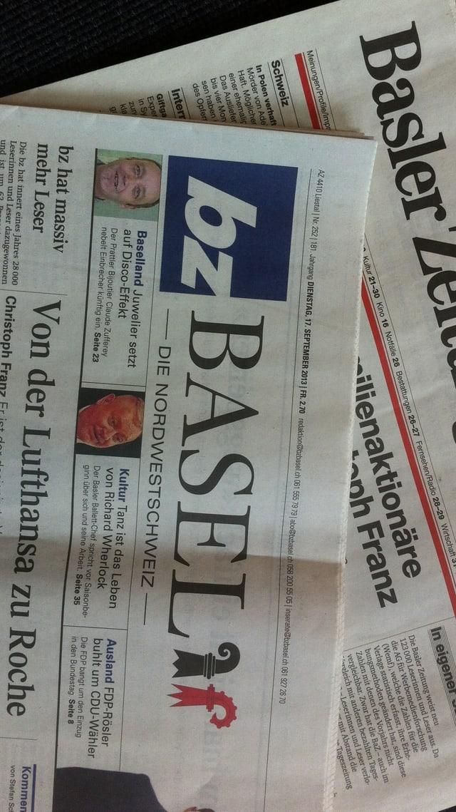 Die «Basler Zeitung» und die «Basellandschaftliche Zeitung» von heute liegen übereinander