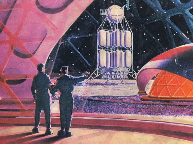 Bevor die Raumfahrt Realität wurde, fand man sie auf dem Papier: Eine Zeichnung von Andrey Sokolov und Aleksey Leonov von 1968.