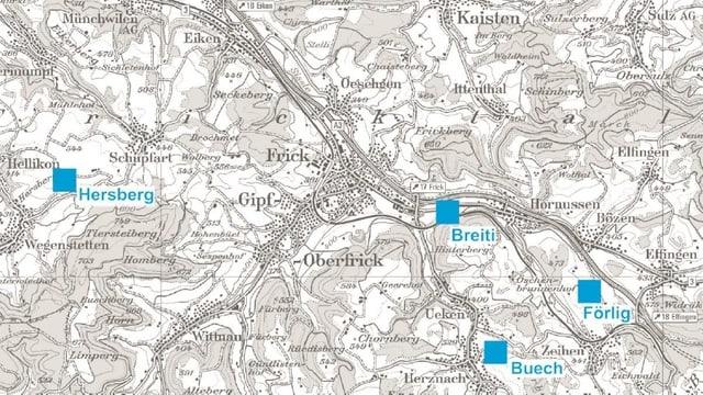 Karte mit den vier Standorten.
