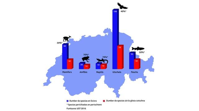 grafica da la Svizra che mussa las spezias d'animals e quantas ch'èn sin la glista cotschna