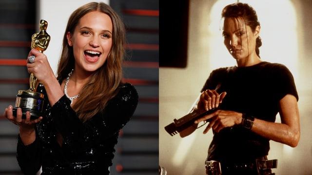Eine Collage aus zei Bildern. Auf dem ersten Alicia VVikander mit dem Oscar in der Hand. Auf dem zweiten Angelina Jolie als Lara Croft mit einer Pistole in der Hand.