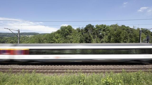 Vorbeifahrender Zug.